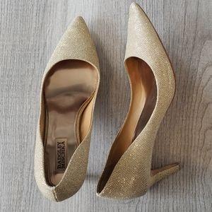 💫 Badgley Mischka Gold Shimmer Low Heels